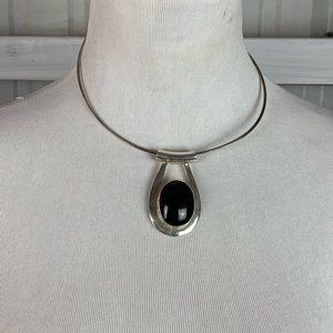 Vintage Sterling Silver .925 Onyx Chocker Necklace